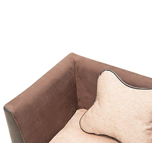 Divano extra lusso ecopelle e tessuto marrone per cane e for Divano per cani